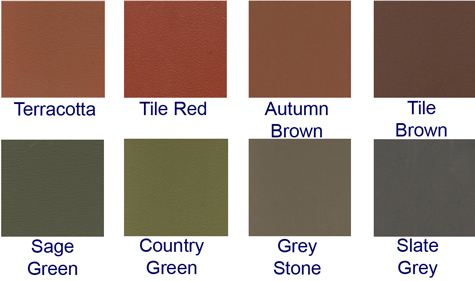 Terracotta, Tile Red, Autumn Brown, Tile Brown, Sage Green, Country Green, Grey Stone, Slate Grey